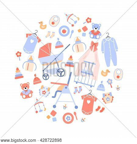 Baby Shower Flat Set Circle Concept. Newborn Accessories Isolated On White Background. Pastel Decora