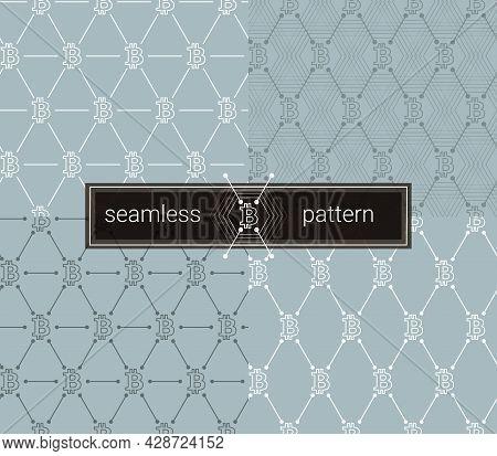 Neutral Bitcoin Seamless Pattern Set. Btc Background. Seamless Background With Signs Of Bitcoin. Coo