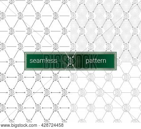 Bitcoin Seamless Pattern. Btc Background. White Seamless Background With Signs Of Bitcoin. White Lin