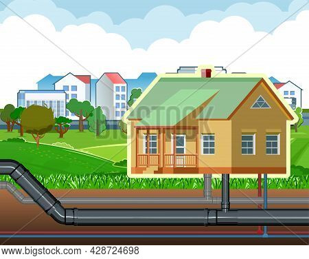 Pipeline For Various Purposes. Water, Sewerage And Gas Are Connected To The House. Underground Part