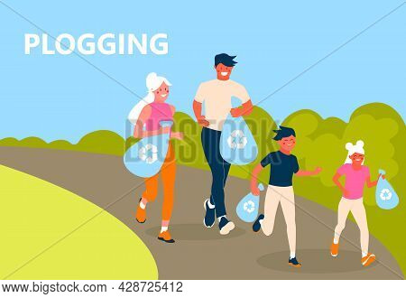 Plogging Concept. A Family Of Eco-volunteers Clean The Polluted Environment From Garbage. Men And Wo