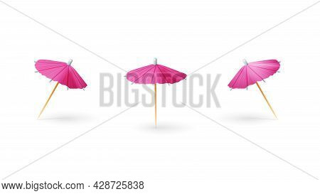 Pink Paper 3d Cocktail Umbrella Isolated On White Background
