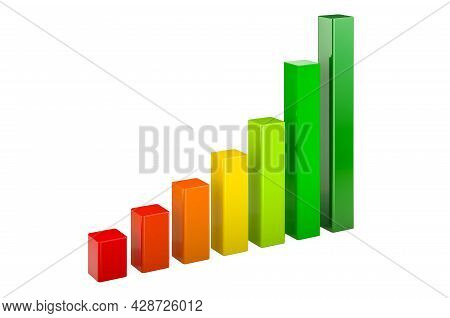 Bar Graph, Column Chart. 3d Rendering Isolated On  White Background