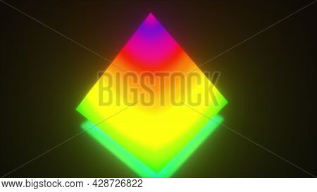 Glowing Triangular 3d Render Building With Rainbow Waves Textures. Futuristic Figure With Bright Ref