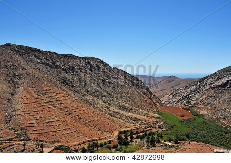 view of a landscape of Fuerteventura, Canary Islands, Spain, from Lookout Risco de las Penas