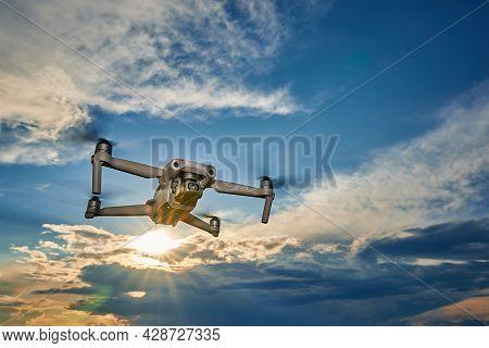 Dji Mavic Air 2 Drone In The Sky. Flying Quadcopter. Dobrush, Belarus - 06.09.2021
