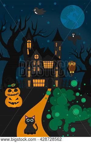 Halloween Night Background. Vector Illustration For The October Holiday, Banner. Poster, Invitation