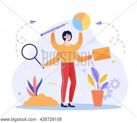Concept Of Multitasking Problem. Woman With Four Hand Holding Diagram, Letter, Magnifying Glass, Pen