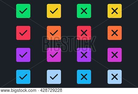Set Of Colorful Tick And Cross On Dark Background. Simple Check Marks Icon. Yes Or No Accept And Dec