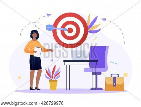 Focusing On Work Goal Concept. Complete Objective As Target Accuracy And Precise Shot. Woman Works H