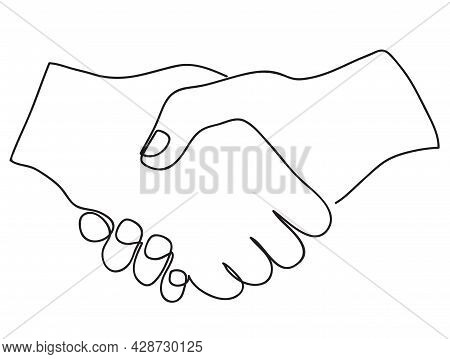 Handshake Continuous Line Vector Drawing. Continuous Line Art Style. Simple Minimal Sketch Flat Desi