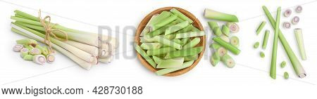 Fresh Lemongrass Isolated On White Background, Set Or Collection