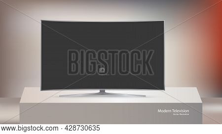 Modern Tv Set Isolated On Cubical Stage Background, Vector Illustration