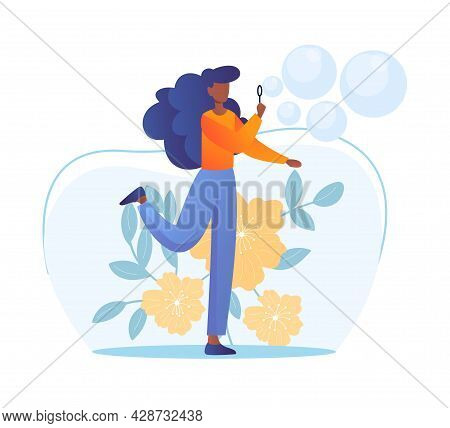 Blowing Soap Bubbles Concept. Woman Blows Bubbles Out Of Soap Solution. Fun Activity And Relaxation.