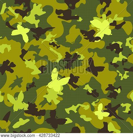 Seamless Classic Camouflage Pattern. Camo Fishing Hunting Vector Background. Masking Green Brown Bla