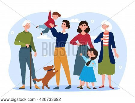 Happy Big Family Concept. Grandma, Grandpa, Mom, Dad, Children, And Pet.stand Together. Happy Adults