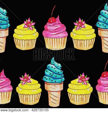 Sweets, Cake Sweet Cupcakes, Fruit Chocolate Cherry Vanilla Strawberry With Delicious Shortbread Cru