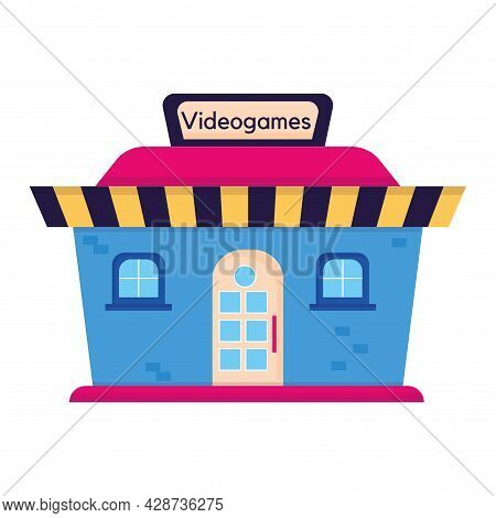 Isolated Flat Videogames Store Icon Front View Building Icon Vector