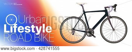 Realistic Road Bike Black Carbon Sport Bike Isolated On Gradient Background Vector Illustration For