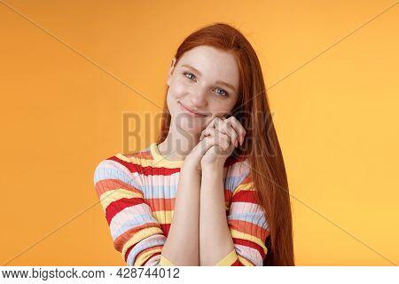Dreamy Sensual Romantic Young Passionate Redhead Girlfriend Melt Heart Feel Sympathy Joy Receive Swe