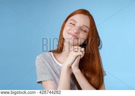 Charming Delighted Happy Dreamy Redhead Girlfriend Ginger Long Hair Tilting Head Close Eyes Smiling