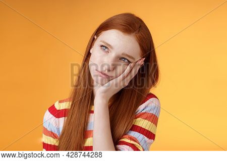 Lonely Upset Moody Cute Redhead Girlfriend Feeling Boredom Leaning Palm Look Up Pouting Frowning Dis