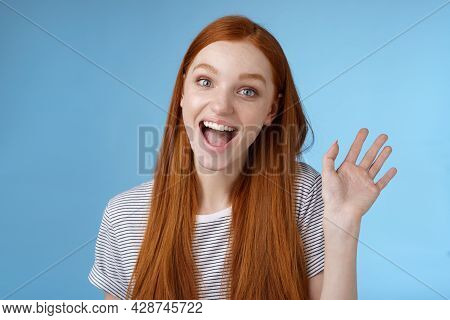 Hello Wanna Be Friends. Enthusiastic Cute Redhead Female Newbie Getting Know Coworkers Smiling Happy