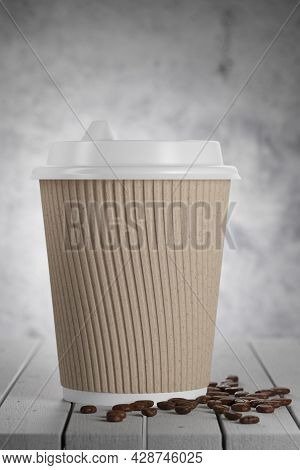 Craft Paper Disposable Paper Cup On A Wooden Table In A Cafe.. Recyclable Tableware. Disposable Pape