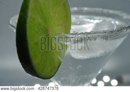 Cocktail, Drink With Ice And Lime, Ice Drink And Dew On The Glass, Transparent Liquid, Sugar Crust O