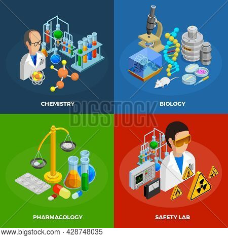 Science Concept Icons Set With Chemistry Biology And Pharmacology Symbols Isometric Isolated Vector
