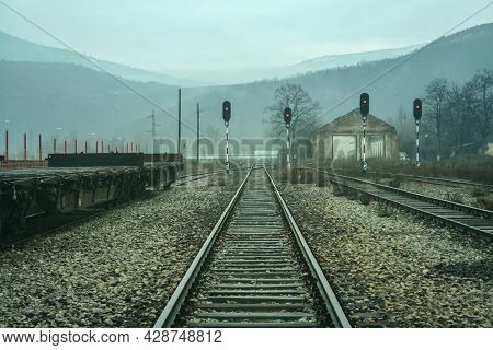 Red Lights On A Railway Signals In The Abandoned Railway Station Of Kosovska Mitrovica, Or Mitrovice