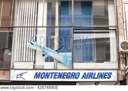 Belgrade, Serbia - May 29, 2021: Montenegro Airlines Logo On Their Main Office For Serbia. Montenegr
