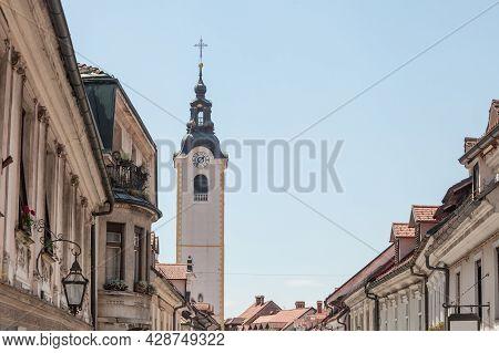 Church Tower, Cerkveni Stolp, On The Zupinjska Cerkev, A Baroque Roman Catholic Church In The Center