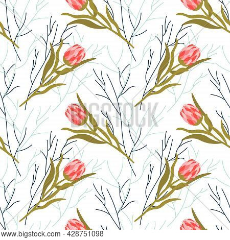 Pattern With Pink Protea And Abstract Branches. Floral Pattern On A White Background. Vector Illustr