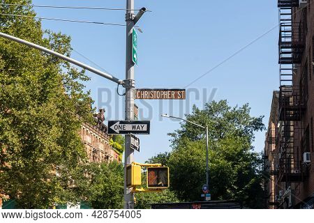 New York, Ny - Usa - July 30, 2021: A Street Sign For Christopher Street; In The West Village Neighb