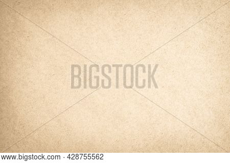 Brown Recycled Cardboard Texture Background. Cream Paper Crumpled Old Vintage Page Or Grunge Vignett