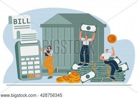 Financial Services Abstract Concept Vector Illustration Set. Banking Operations, Payment Processing,
