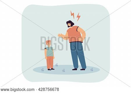 Mother Reproaching Upset Kid Flat Vector Illustration. Angry Woman Punishing Naughty Son, Scolding C