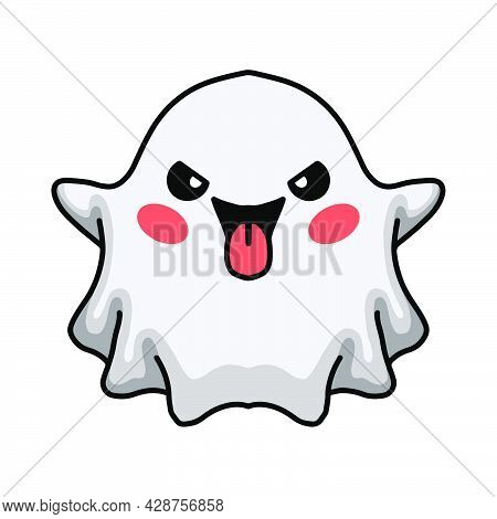 Vector Illustration Of Cartoon Cute Ghost Sticking His Tongue Out