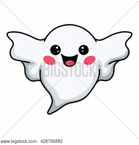Vector Illustration Of Cartoon Cute Halloween Ghost Flying