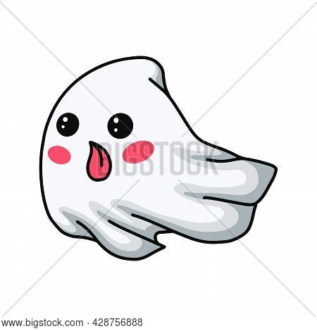 Vector Illustration Of Cartoon Cute Ghost Flying And Sticking His Tongue Out