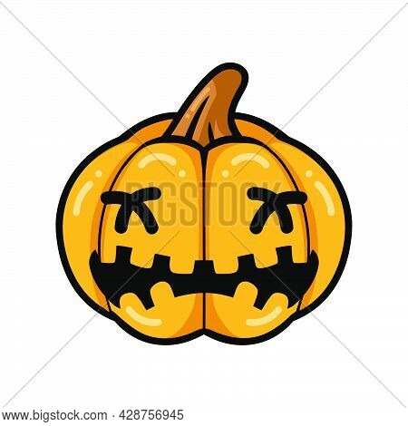 Vector Illustration Of Cartoon Orange Pumpkin With Crying Face Expression