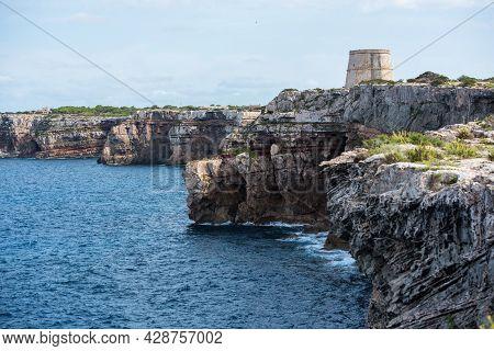 Sunny Morning At Torre De Sa Punta Prima On The Island Of Formentera, Spain.