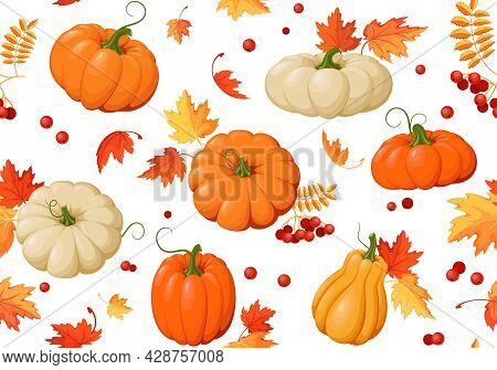 Autumn Background With Pumpkins And Autumn Leaves. Seamless Pattern. Colorful Pumpkins, Maple Leaves