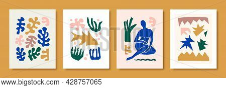 Matisse Abstract Art Sets The Female Figure And Organic Shapes In A Trendy Minimal Style. Vector Col