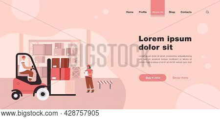 Cargo Staff In Warehouse Interior. Flat Vector Illustration. Factory And Logistic Workers, Loader In