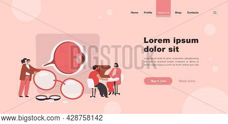 Tiny Ophthalmologists Checking Patient Vision Isolated Flat Vector Illustration. Cartoon Doctor In U
