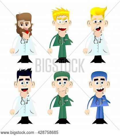 Funny Cartoon Doctor Thinking. Vector Illustration. Uncertain Health Care Worker.