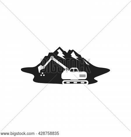 Excavator Mountain Icon Logo Vector Design