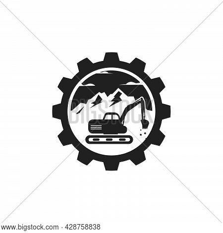 Excavator Gear Concept  Icon Logo Vector Design